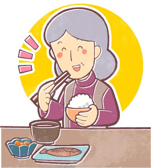 ご飯を食べる高齢の人のイラスト