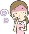 口の不快感を感じる女性のイラスト